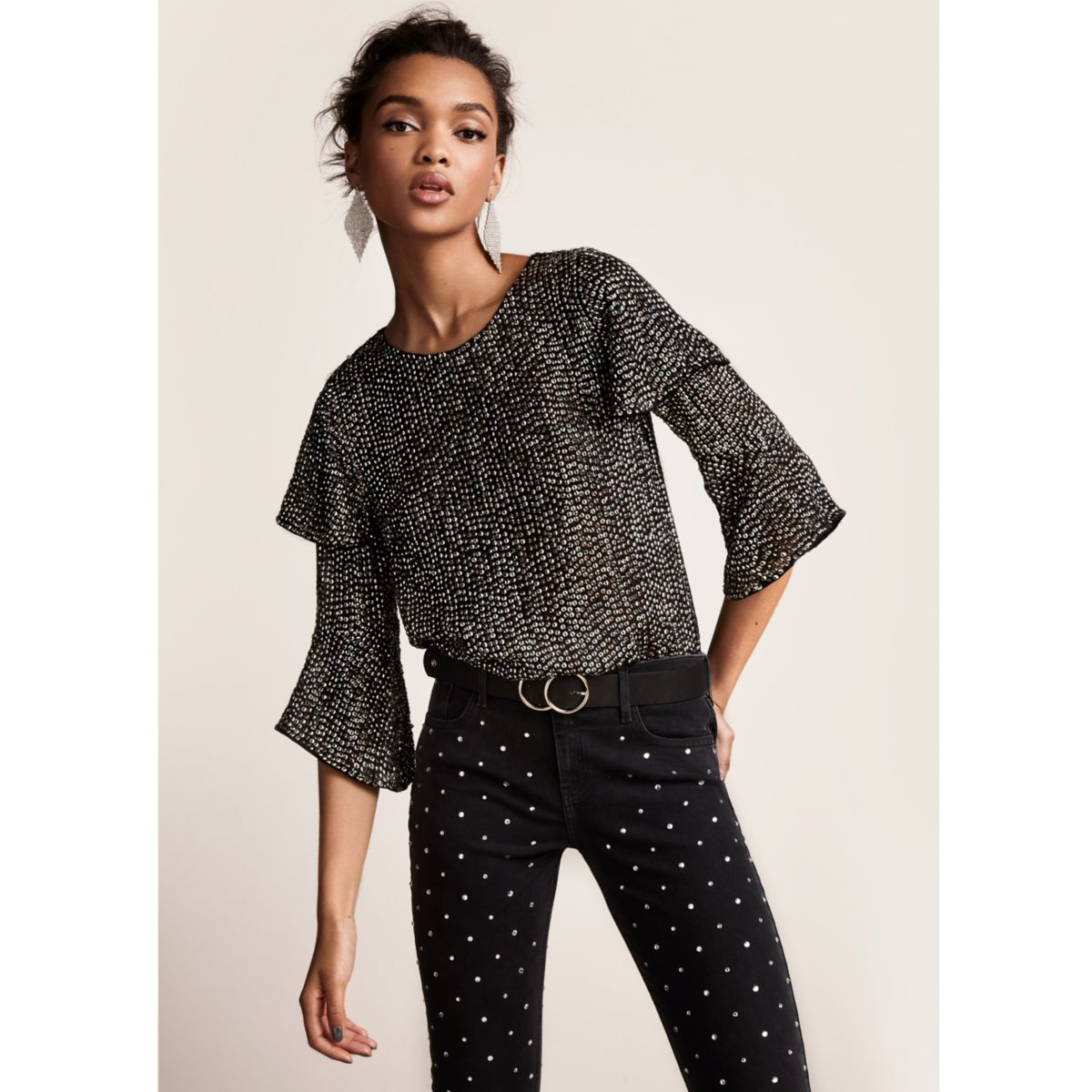 Black sequin embellished frill sleeve top