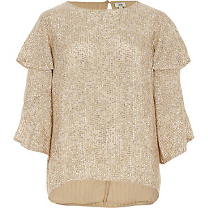 Gold sequin embellished frill sleeve top