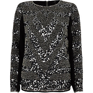 Black sequin embellished long sleeve top