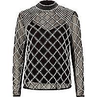 Black mesh pearl embellished high neck top