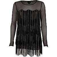 Zwarte top met lange mouwen, gestippeld mesh en franje