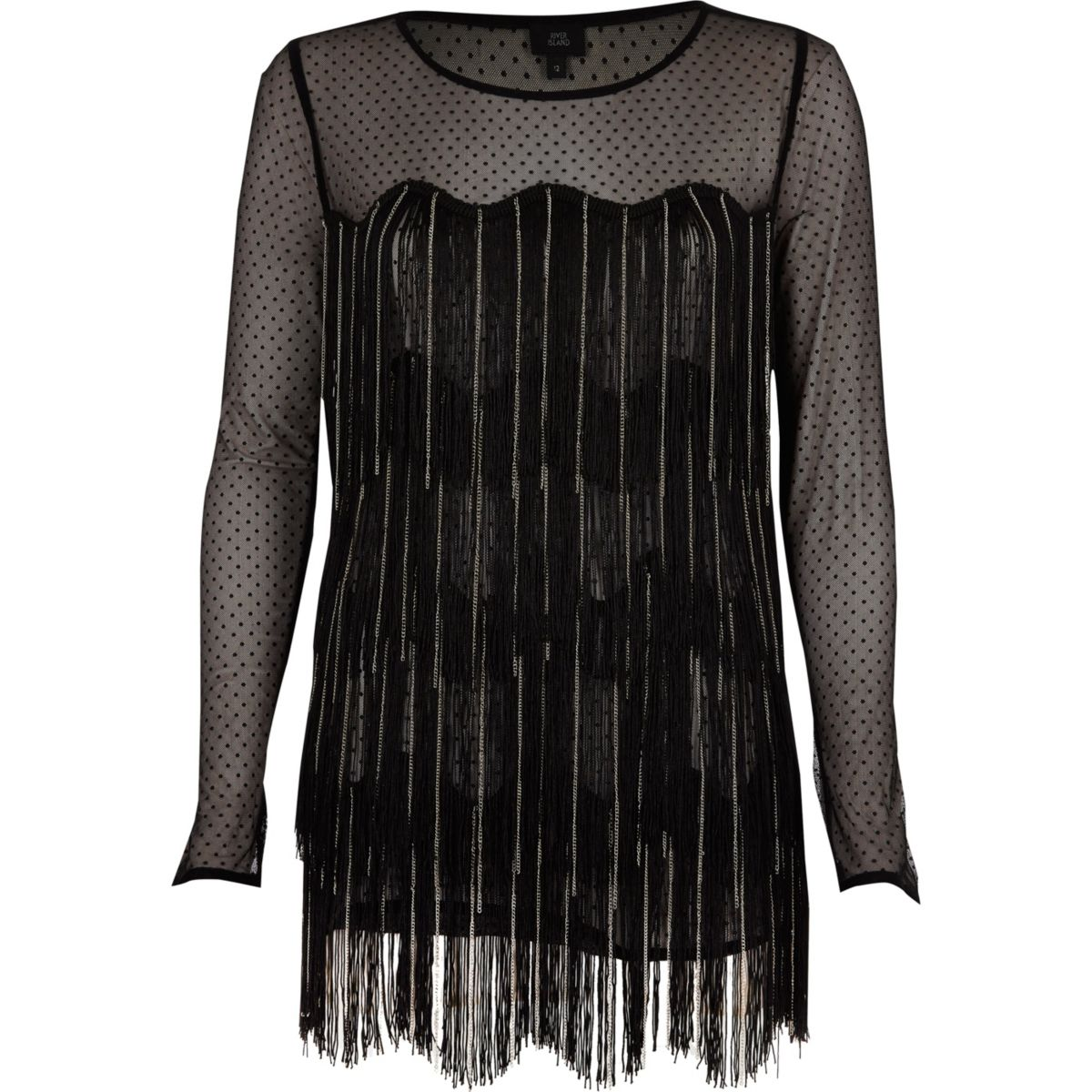 Black dobby mesh fringed long sleeve top