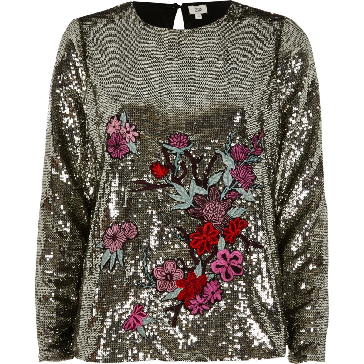 Silver sequin floral embroidered top
