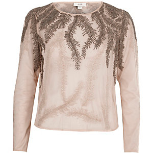 Pink feather embroidered long sleeve top