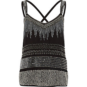 Black sequin embellished cross back cami top