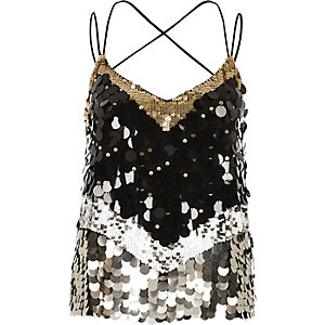 Black sequin disc embellished cami top