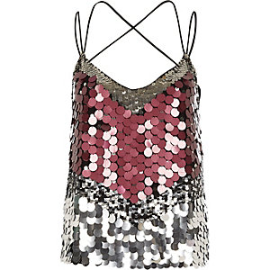 Purple sequin disc embellished cami top