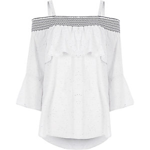 Light grey speckled print shirred bardot top