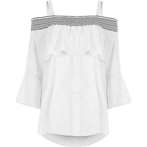 Light grey speckled print shirred bardot top