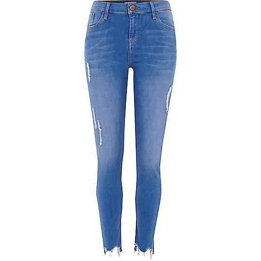Blue raw hem super skinny Amelie jeans