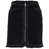 Black frayed studded zip front denim skirt