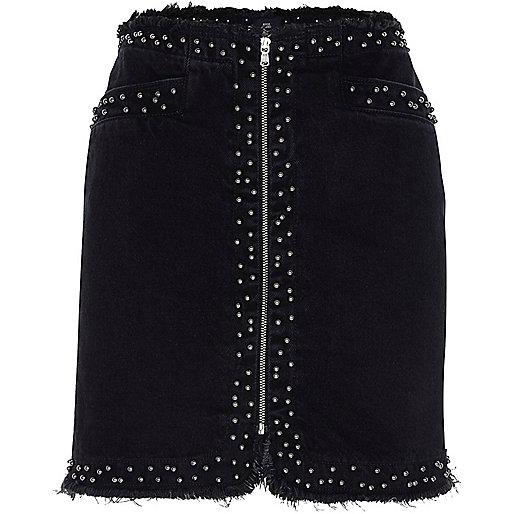 Black frayed studded zip front denim skirt