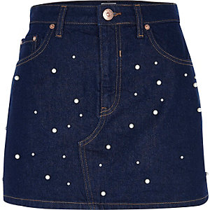 Dark blue pearl embellished denim skirt