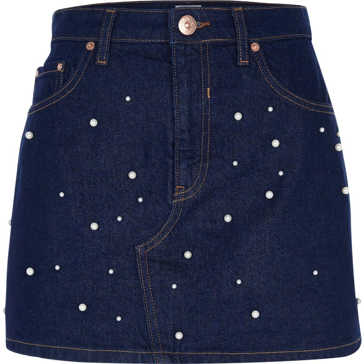 Dark blue pearl embellished denim skirt