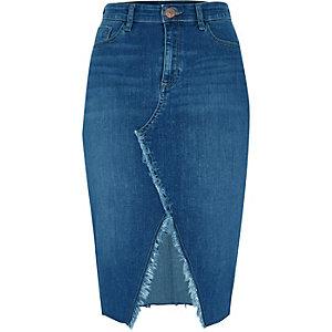 Jupe crayon en jean bleu moyen effilochée avec fente