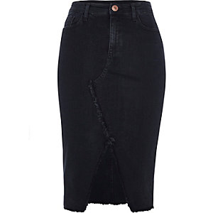 Black frayed split denim pencil skirt
