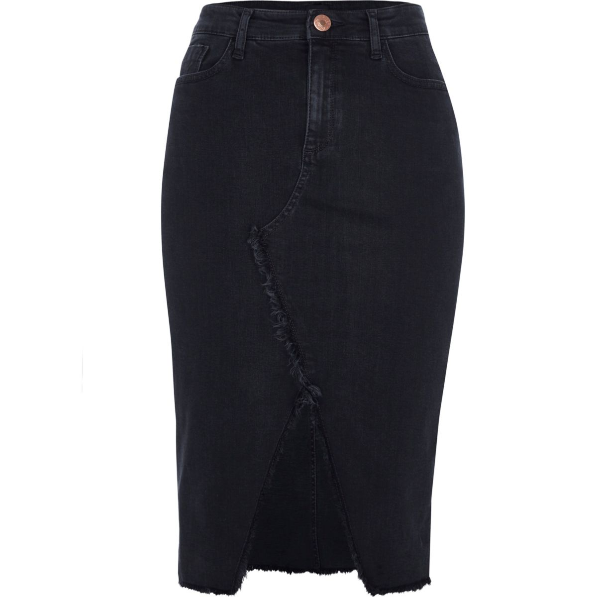 Black frayed split denim pencil skirt