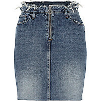 Mid blue denim frayed waist denim skirt