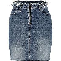 Middenblauwe denim rok met gerafelde taille