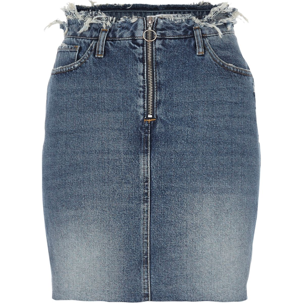 Mid blue denim frayed waist denim skirt