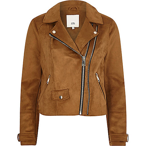 Tan double zip faux suede biker jacket