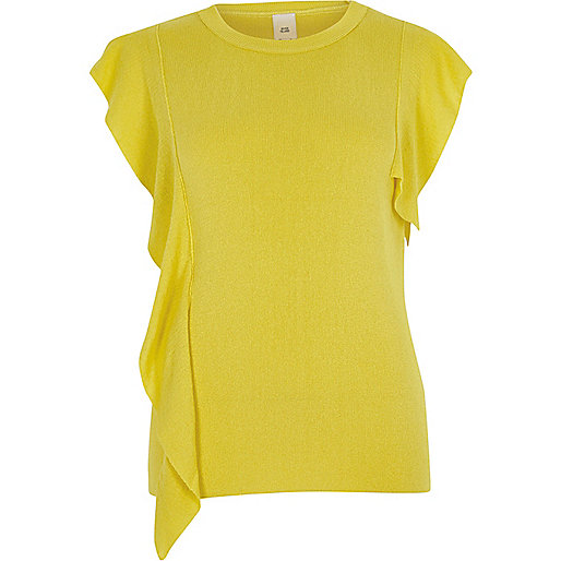 Bright yellow frill front knitted top