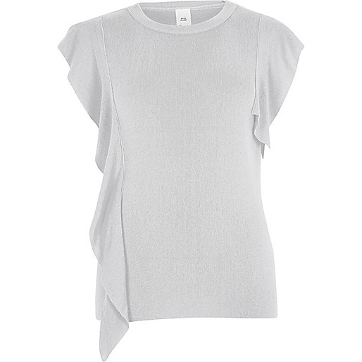 Grey frill front knitted top