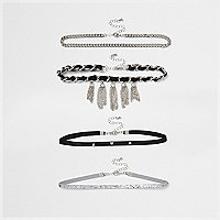 Black tassel trim multi row choker set