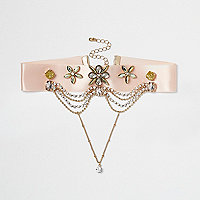 Pink satin embellished chain drop choker