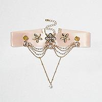 Pink satin embellished chain drop choker