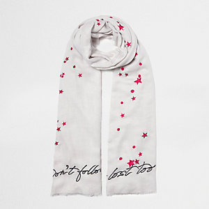 Grey 'don't follow me' embroidered scarf