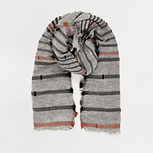 Grey textured stripe scarf