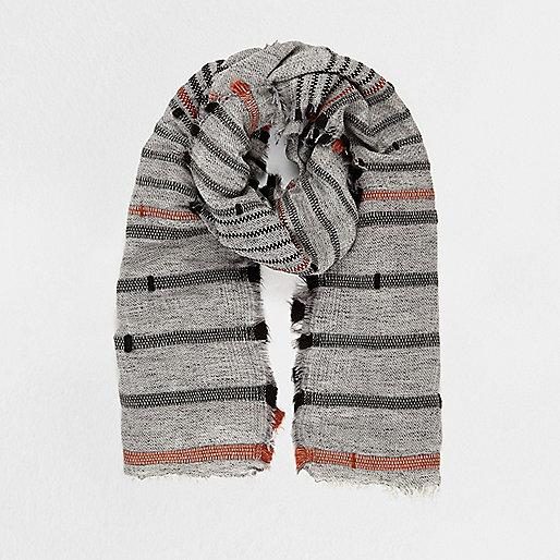Grey textured stripe scarf