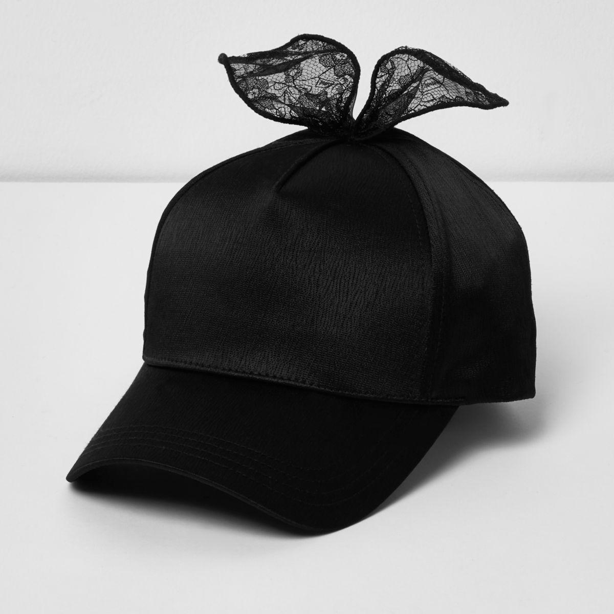 Black lace ear baseball cap