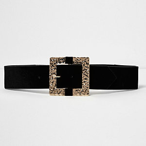 Black leather square buckle belt
