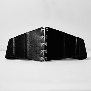 Black hook and eye corset waist belt