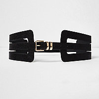 Black cut out wide waist belt