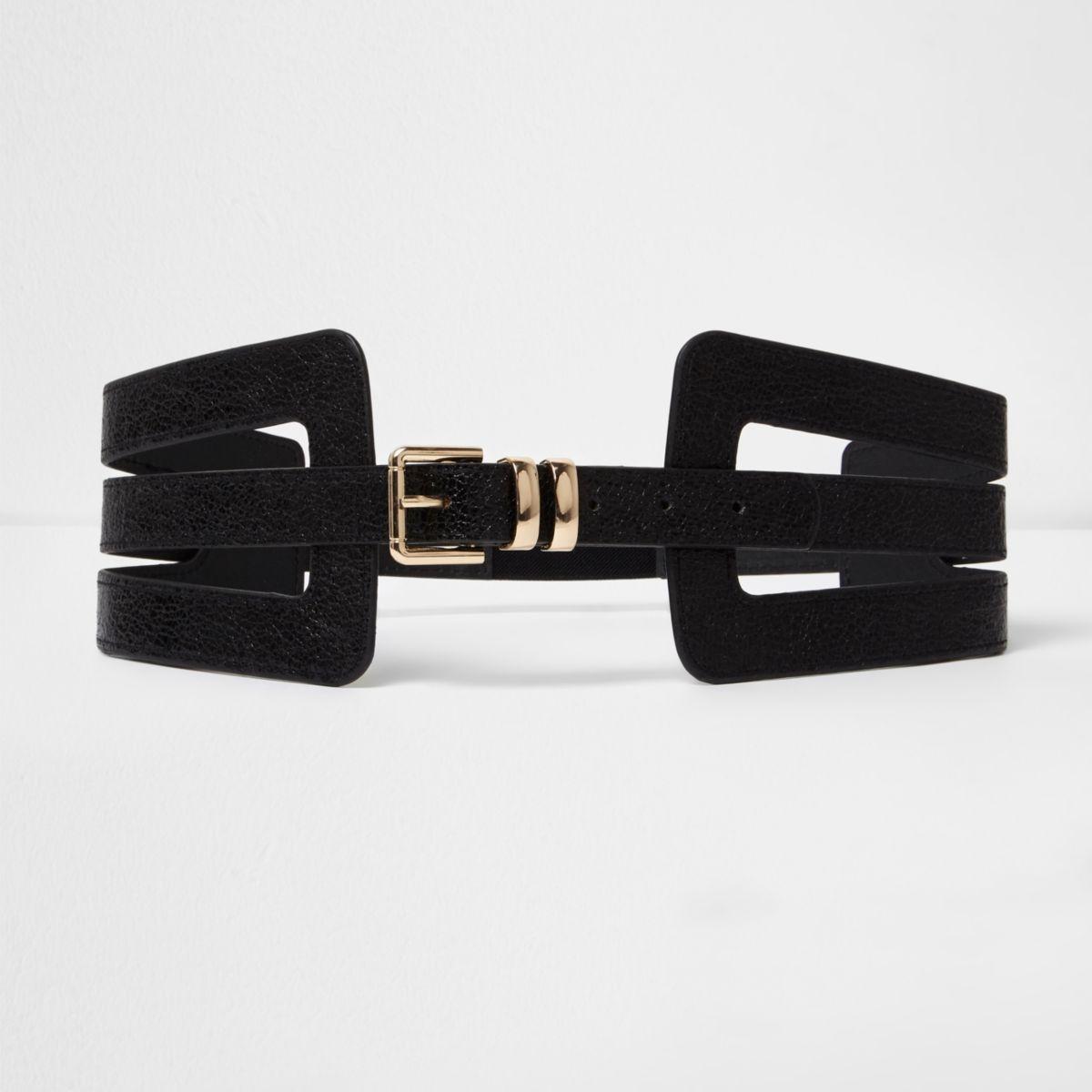Black cut out wide waist belt