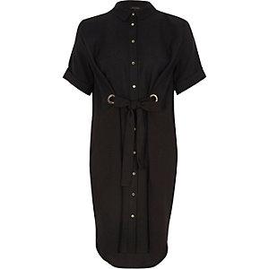 Black tie eyelet front shirt dress