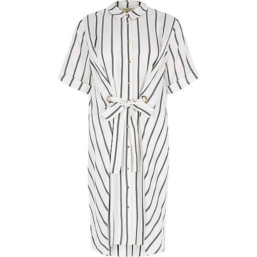 White stripe eyelet tie front shirt dress