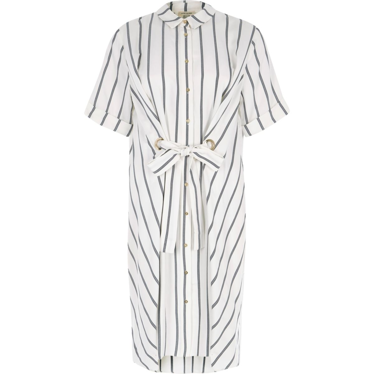 White stripe eyelet tie front shirt dress