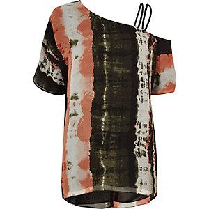 Kakigroene tie-dye top met één schouder