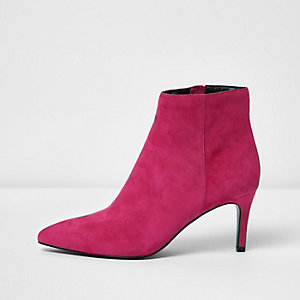 Pink suede pointed kitten heel boots