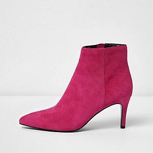 Pink suede pointed kitten heel boots