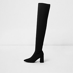 Black over the knee block heel sock boots
