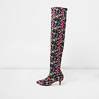 Black floral over-the-knee kitten heel boots