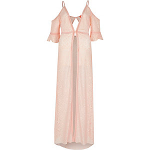 Light pink lace cold shoulder maxi kimono