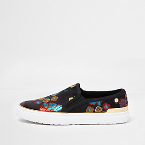 Black floral embroidered slip on plimsolls