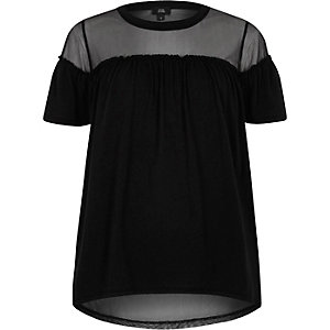 Black ruffle front mesh insert T-shirt
