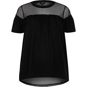 Zwart T-shirt met ruches voor en mesh inzetstuk